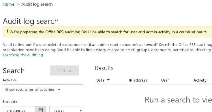 Preparing Office 365 audit log